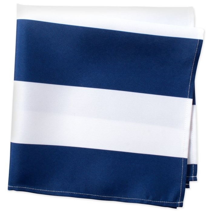 Nautical Blue Cabana Stripe Print Outdoor Napkin (Set of 6)