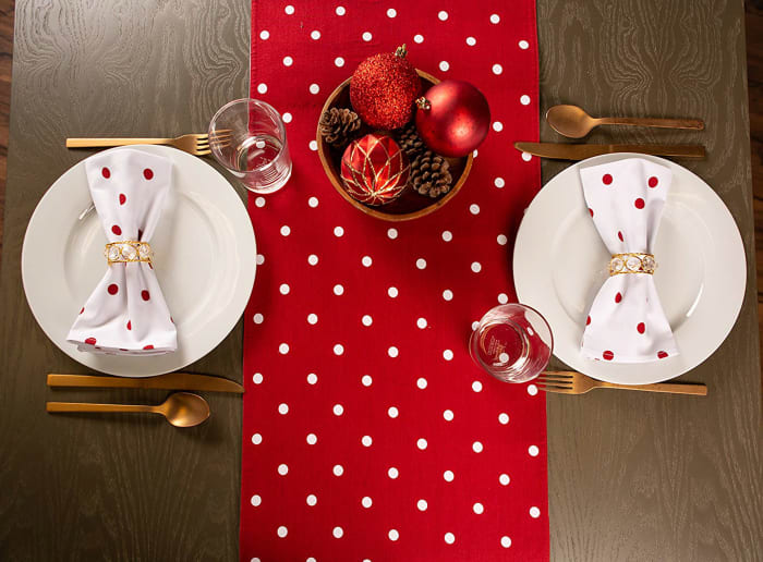 Polka Dot Napkin(Set of 4) White/Red