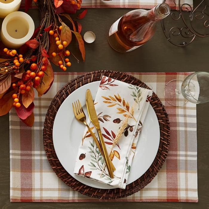 Thanksgiving Thankful Autum, Fall Leaves, Napkin Set