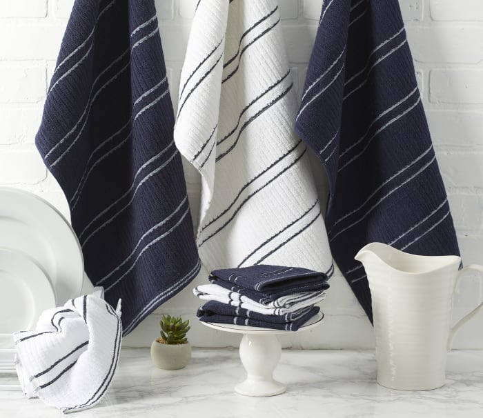 Blue Ribbed Terry Dishtowel & Dishcloth (Set of 8)