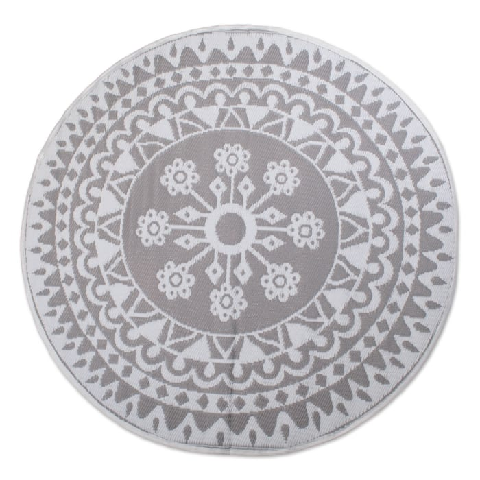 Gray Floral Round Outdoor Rug