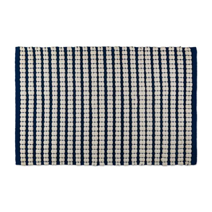 Navy Reversible Braided Stripe Rug 20