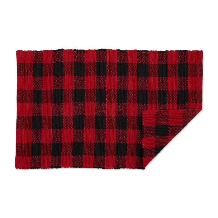 Red and Black Buffalo Check Rag Rug 26x40