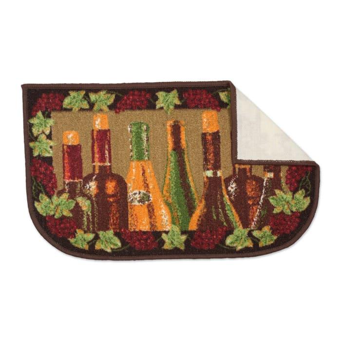 Wine Bottle Print Kitchen Slice Rug 18x30