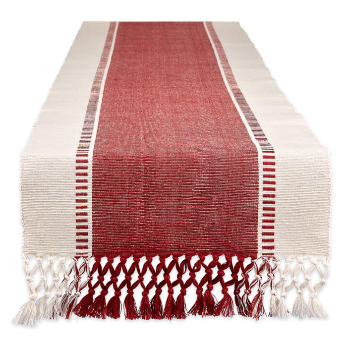 Barn Red Dobby Stripe Table Runner 13x108