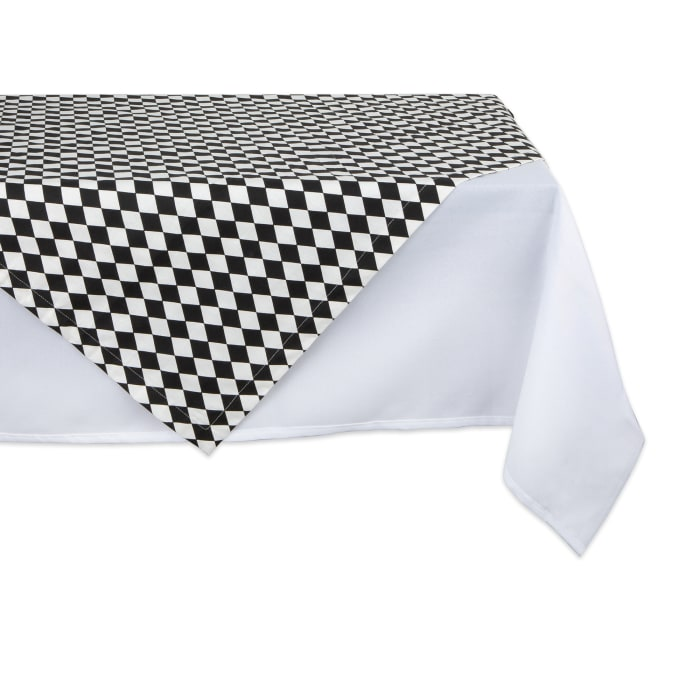 Black and Cream Harlequin Print Table Topper 40x40