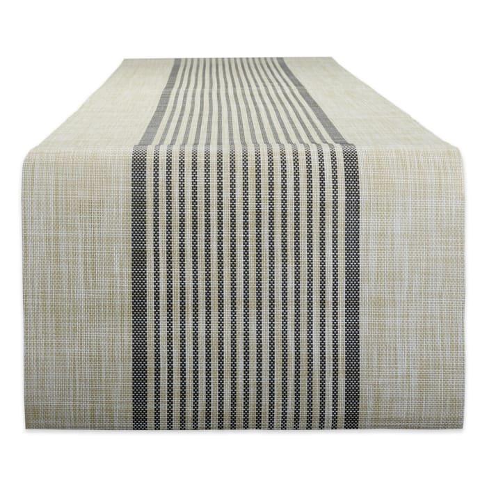 Black Middle Stripe PVC Woven Table Runner 14x72