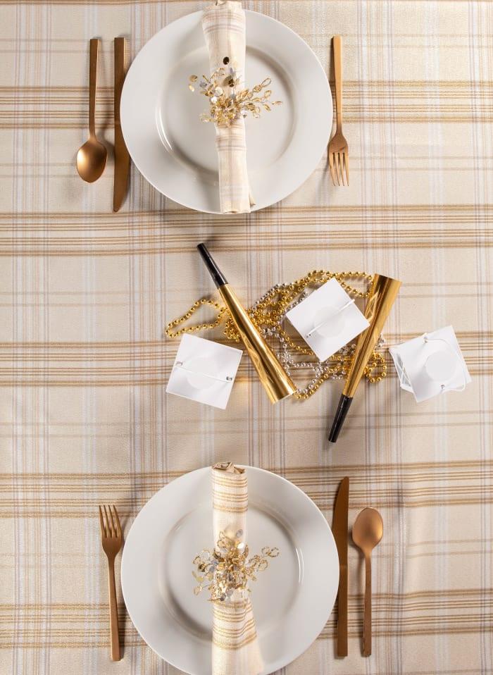 Cream Metallic Plaid Tablecloth 60x120
