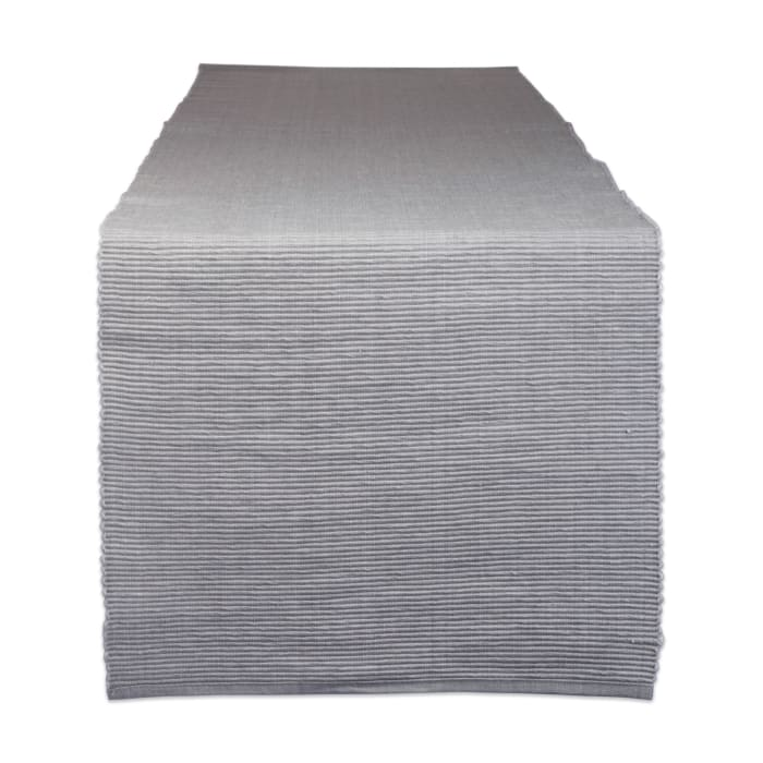Dove Gray Ribbed Table Runner 13x72