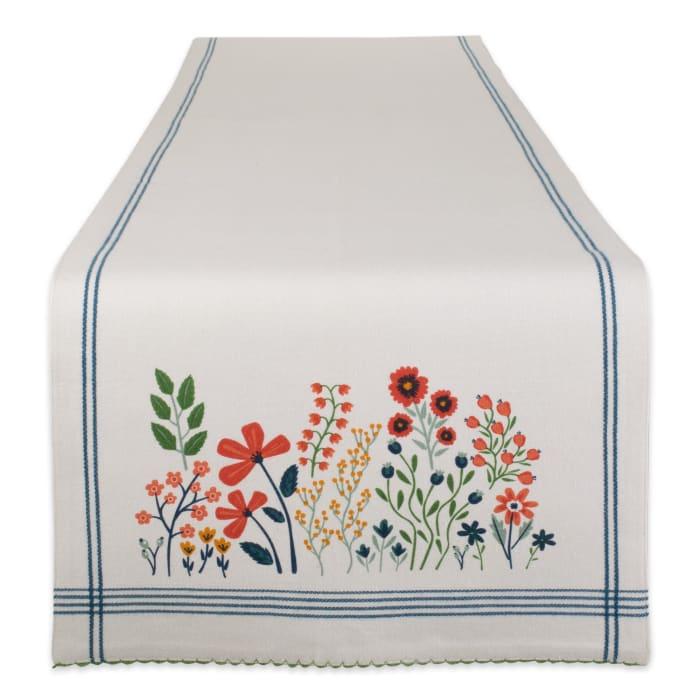 Flower Garden Embellished Table Runner 14x72