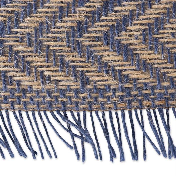 French Blue Chevron Burlap Table Runner 14x108