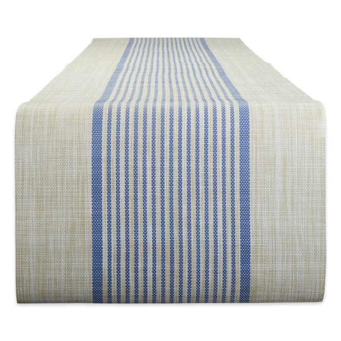 French Blue Middle Stripe PVC Woven Table Runner 14x72