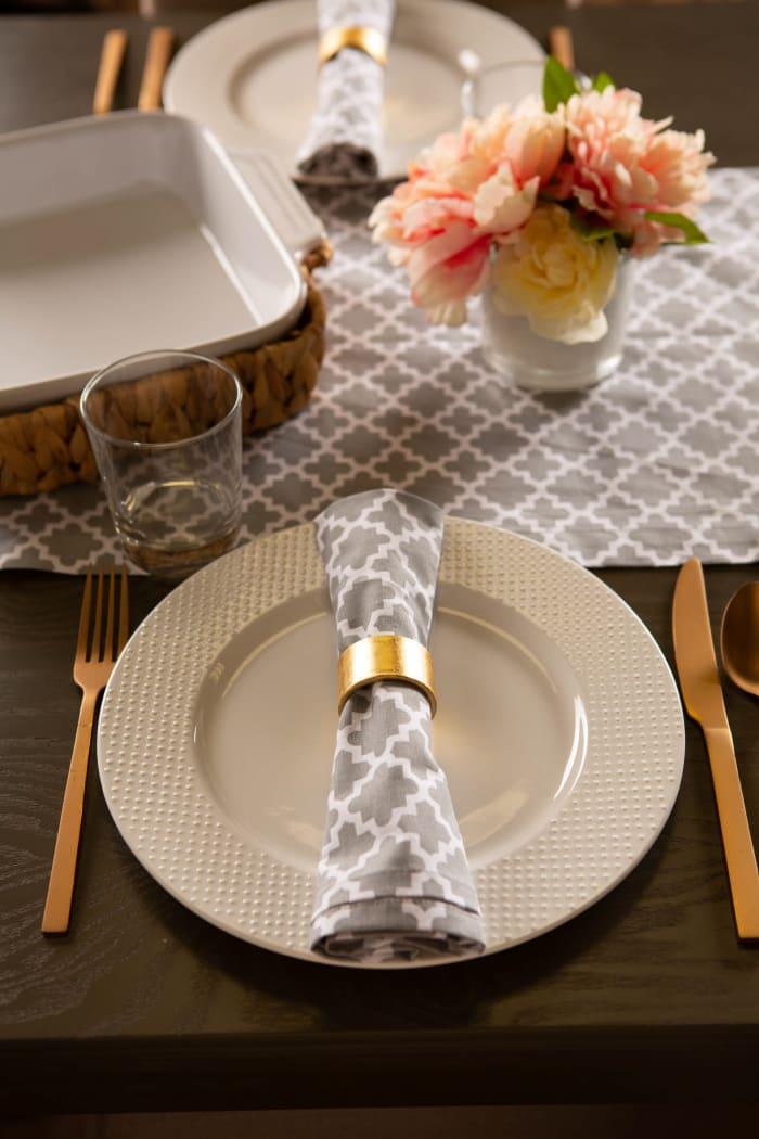 Gray Lattice Table Runner 14