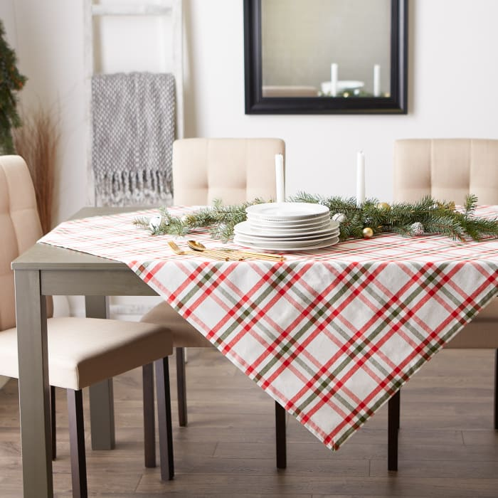 Kitchen & Tabletop Jolly Tree Collection Tablecloth, Nutcracker Plaid, 60x104