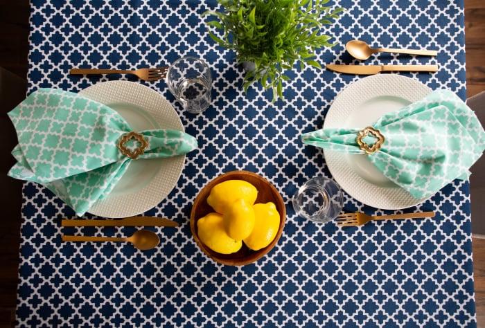Nautical Blue Lattice Tablecloth 60x120