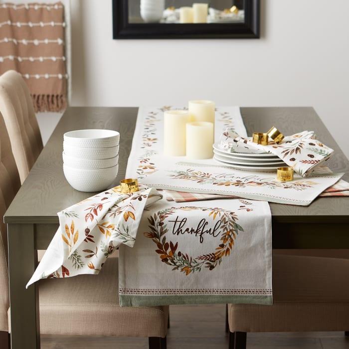 Thanksgiving Thankful Autumn, Fall Leaves, Reversible Table Runner 14x108