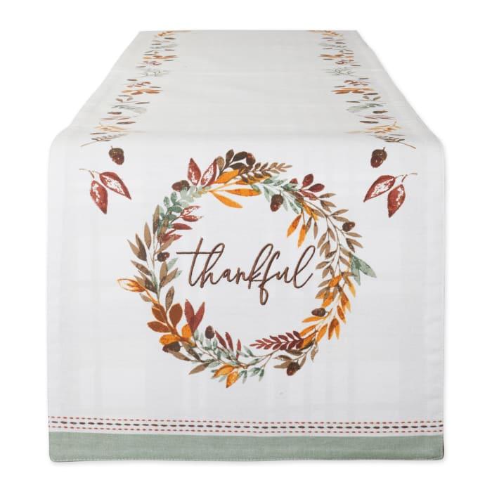 Thanksgiving Thankful Autumn, Fall Leaves, Reversible Table Runner 14x72