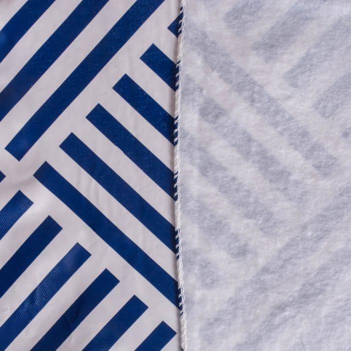 Navy Grid Vinyl Tablecloth 70 Round