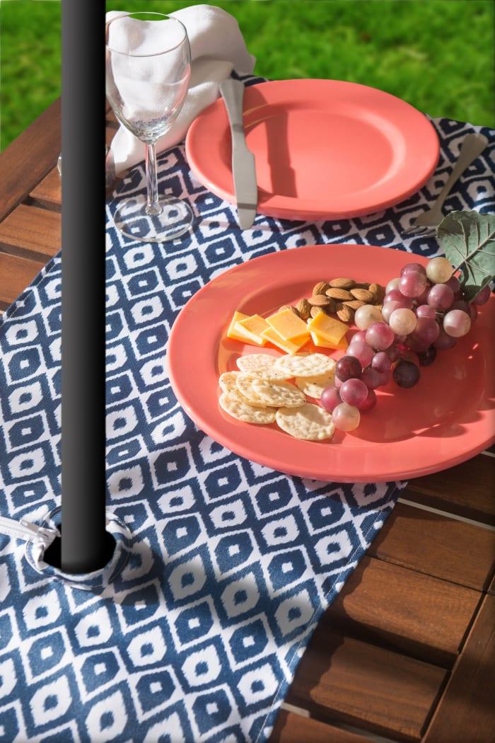 Blue Ikat Outdoor Table Runner With Zipper 14x72