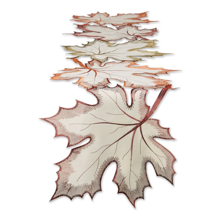 Embroidered Maple Leaves Table Runner