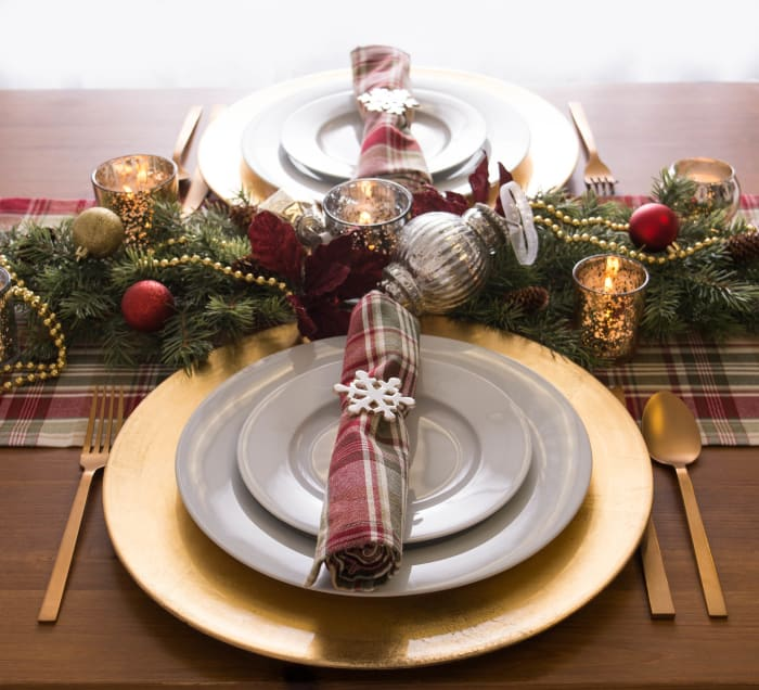 Give Thanks Plaid Table Runner 14x108