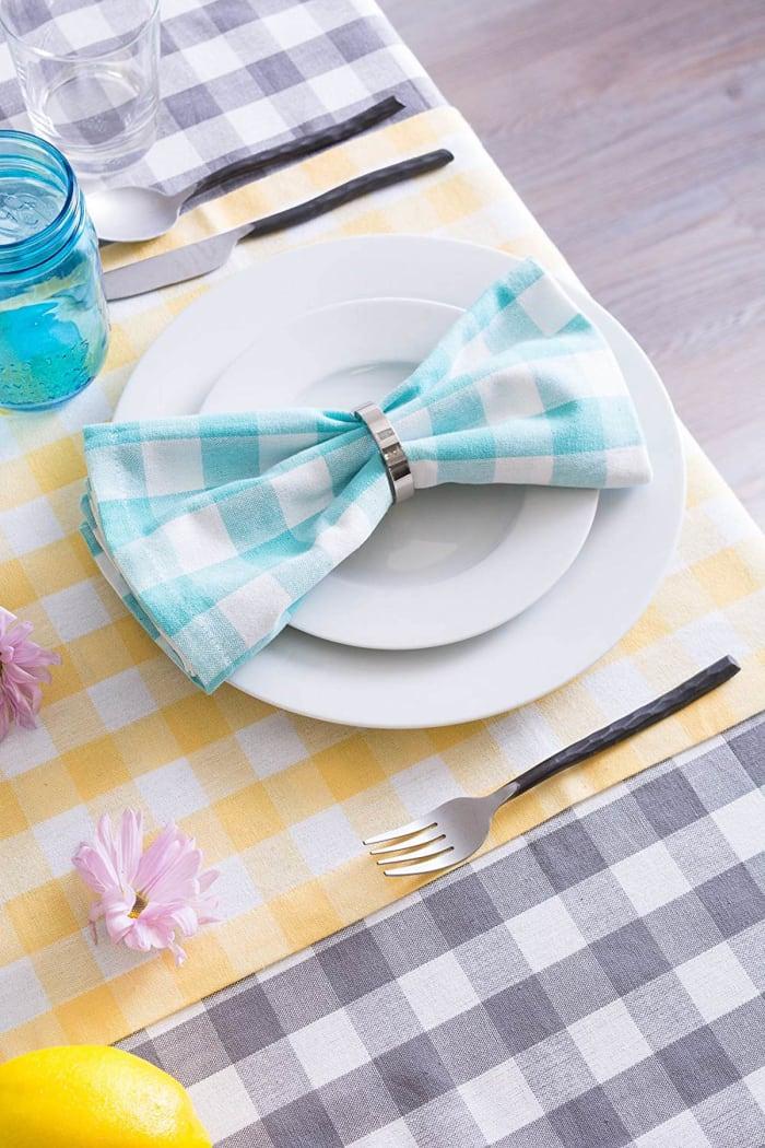 Gray/White Checkers Tablecloth 52x52