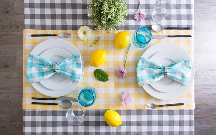 Gray/White Checkers Tablecloth 60x84