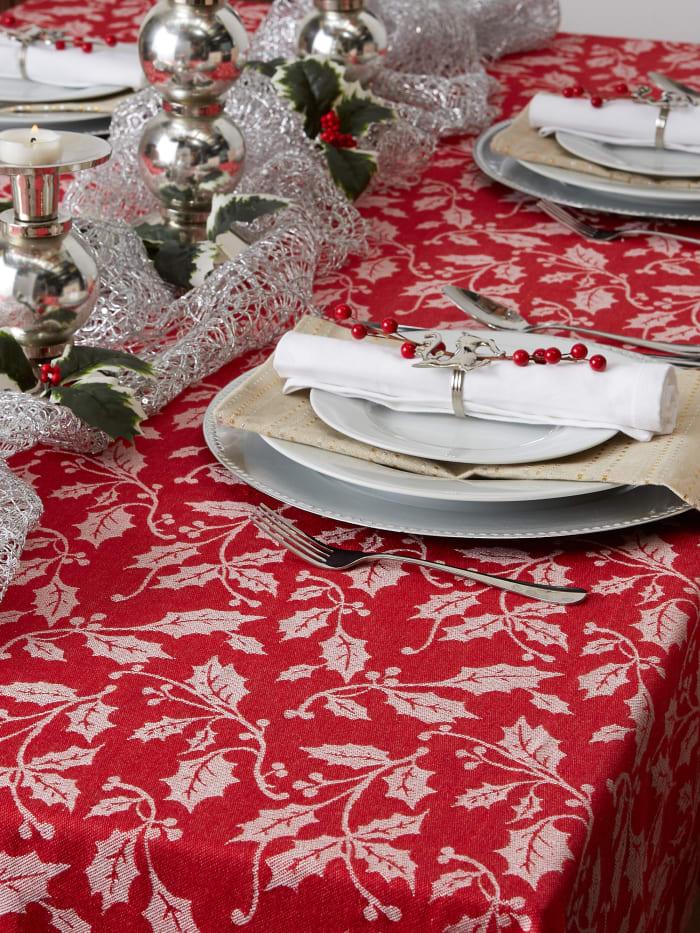 Holly Flourish Jacquard Tablecloth 60x84