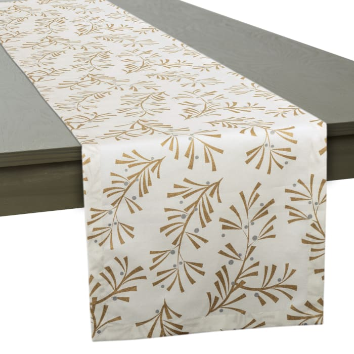 Metallic Holly Leaves Table Runner 14x108