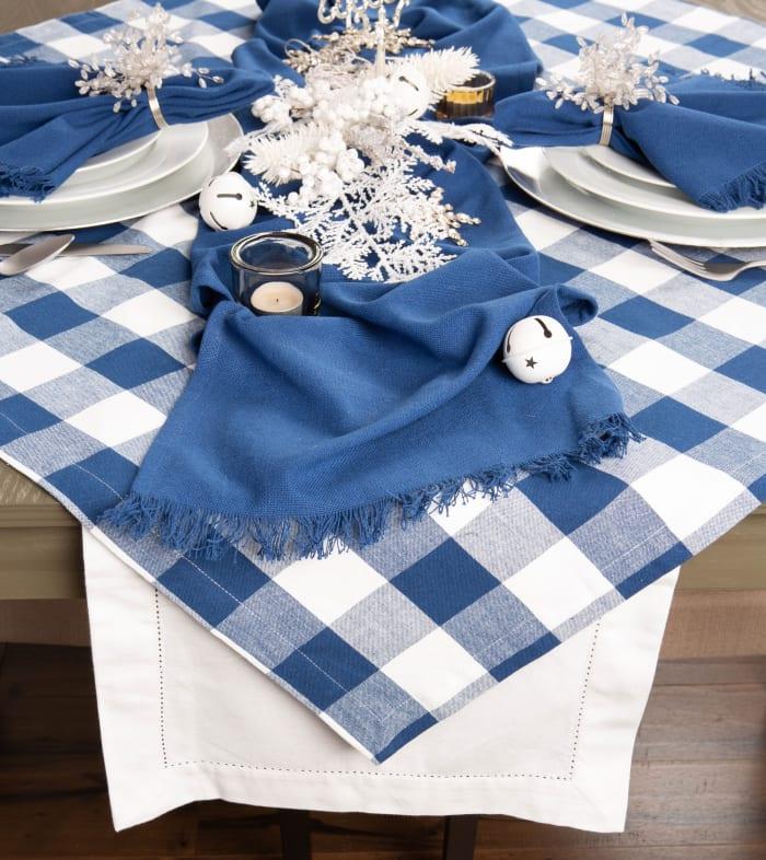 Navy Buffalo Check Tablecloth 60x120