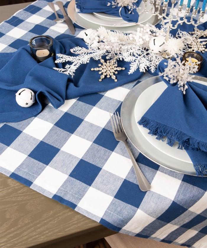 Navy Buffalo Check Tablecloth 60x84