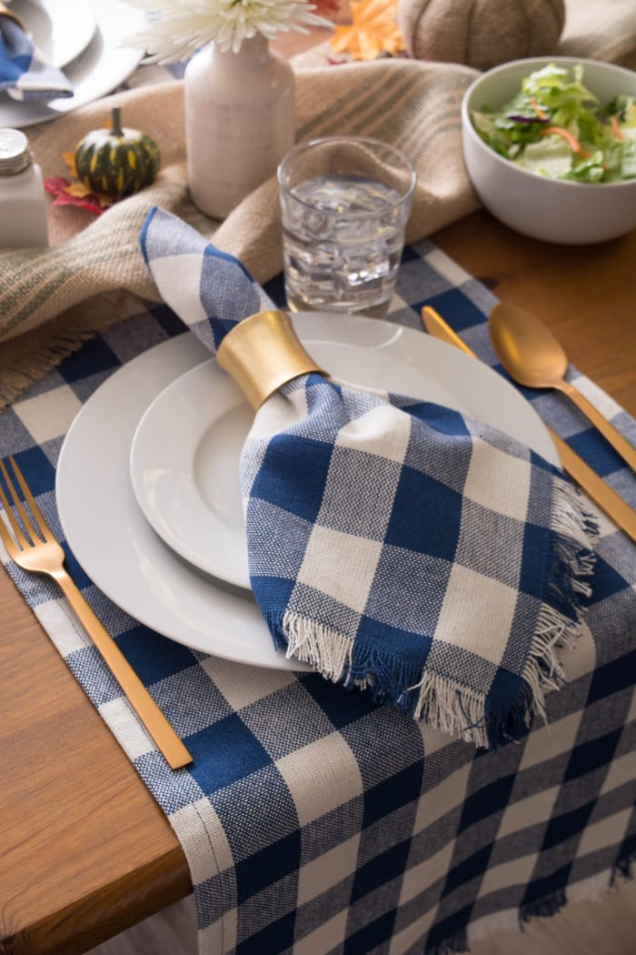 Navy Heavyweight Check Fringed Table Runner 14x72