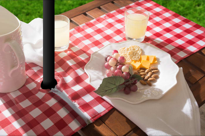 Red Check Outdoor Table Runner With Zipper 14x72
