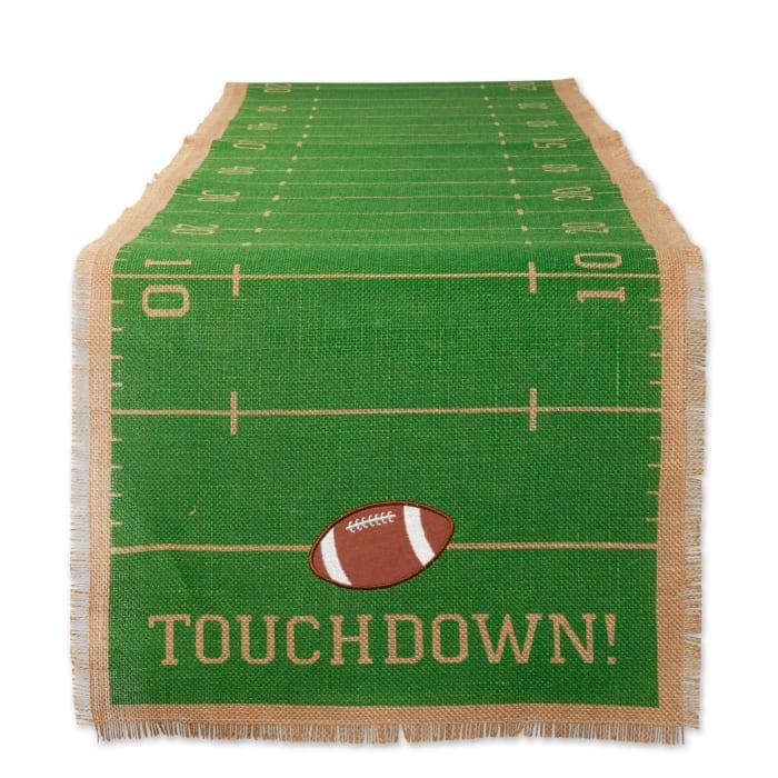 Touchdown Print Jute Table Runner 14X74