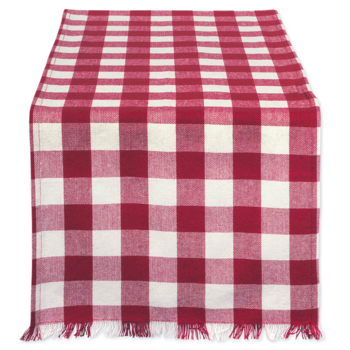Wine Heavyweight Check Fringed Table Runner 14x72