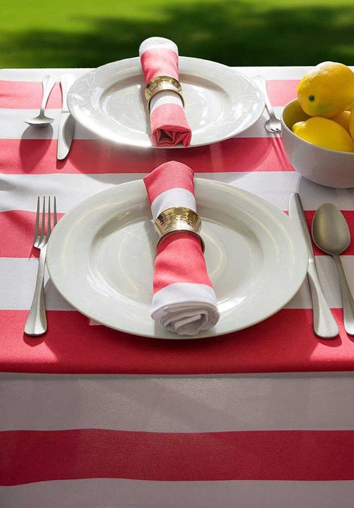 Coral Cabana Stripe Outdoor Tablecloth 60x84