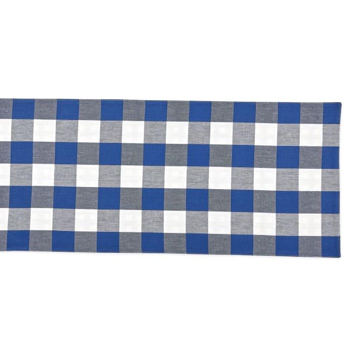 Navy/Off White Reversible Gingham/Buffalo Check Table Runner 14x108