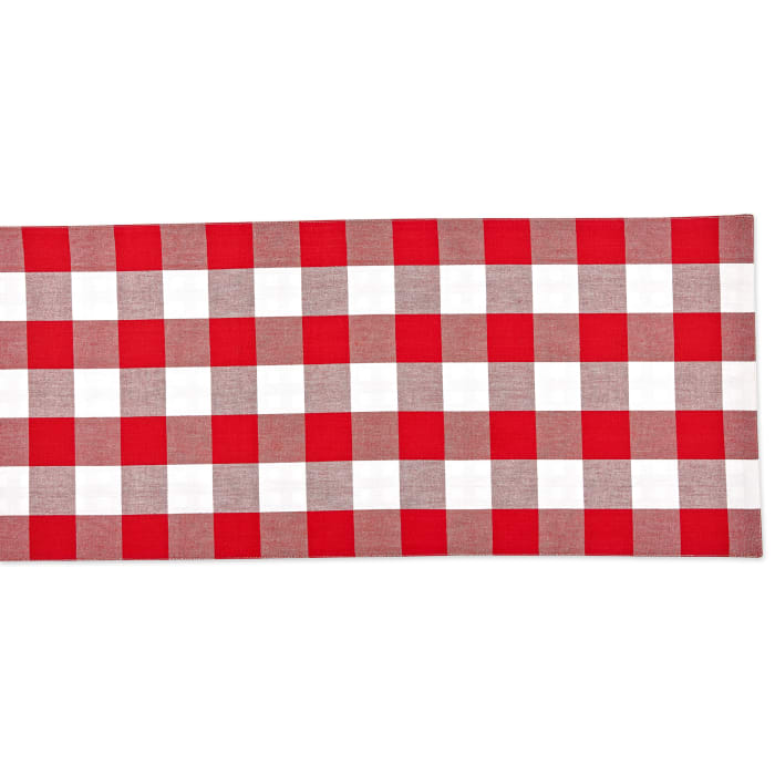 Red and White Reversible Gingham/Buffalo Check Table Runner 14x108