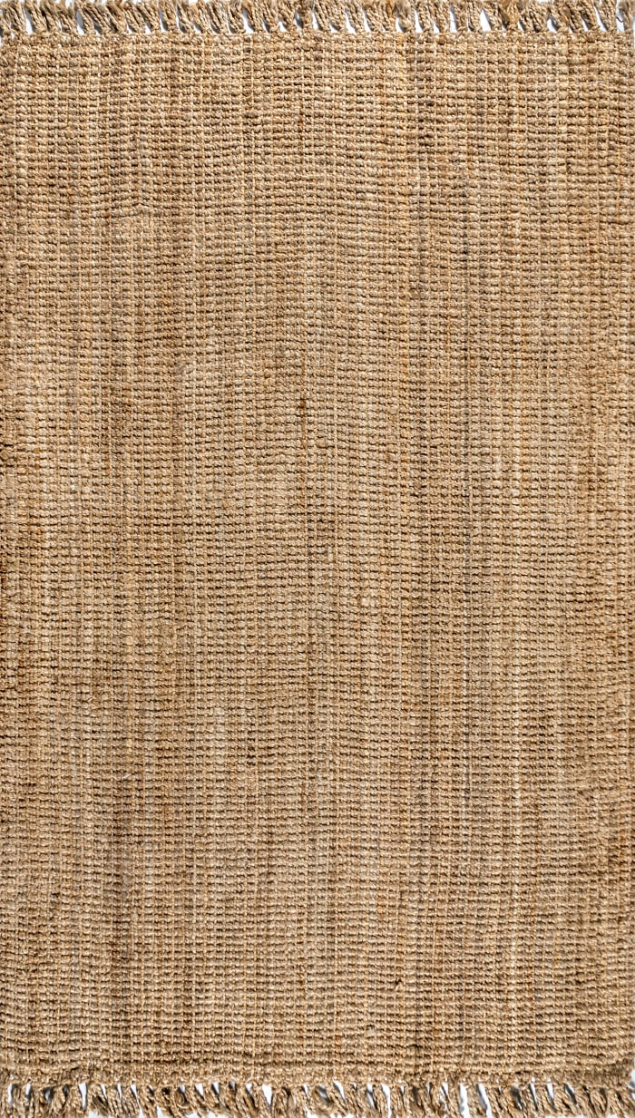 Hand Woven Chunky Jute with Fringe Natural 4' x 8' Area Rug