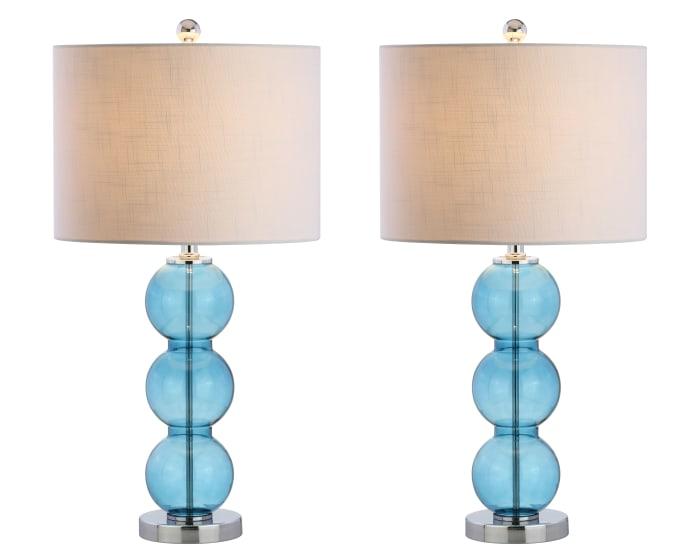 Glass Triple-Sphere Table Lamp, Sky Blue/Chrome (Set of 2)