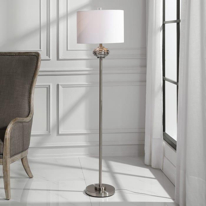 Elliptical Shaped Smoked Glass Brushed Nickel Floor Lamp