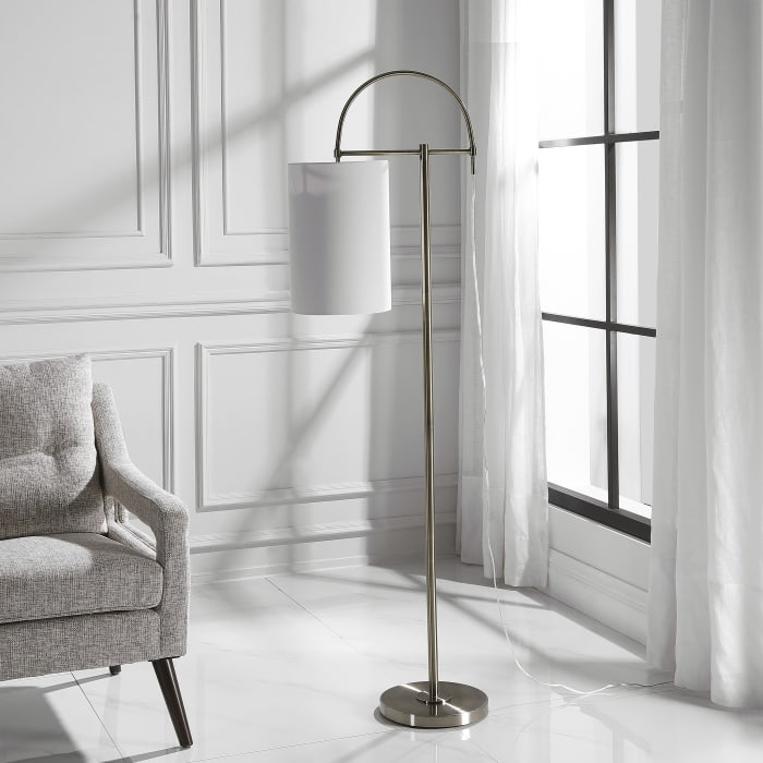 Arc-Style Antiqued Brushed Brass Floor Lamp