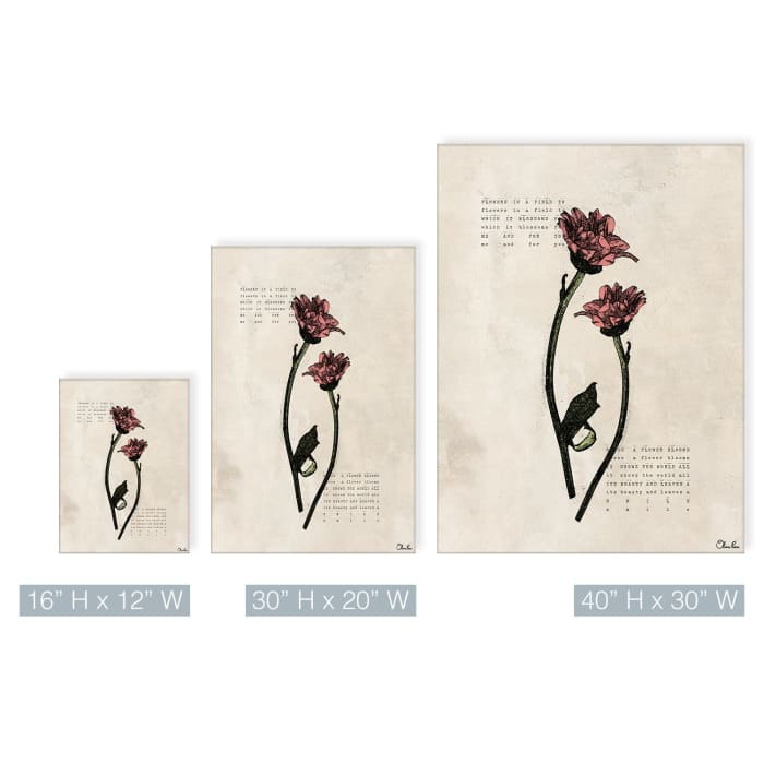 Poetic Flora I Beige Canvas Floral Wall Art