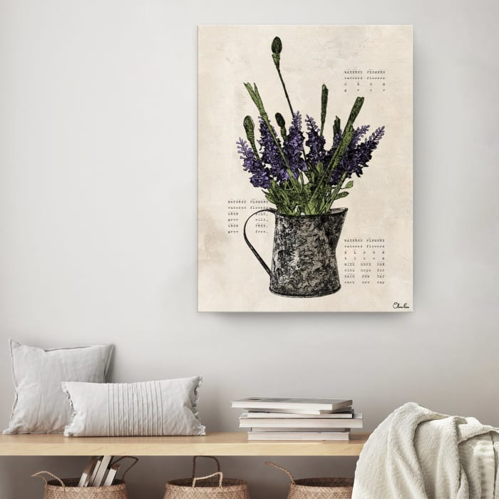 Poetic Flora II Beige Canvas Floral Wall Art