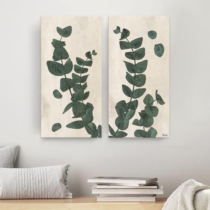 Poetic Flora Set III Green 2-Pc Canvas Wall Art Set