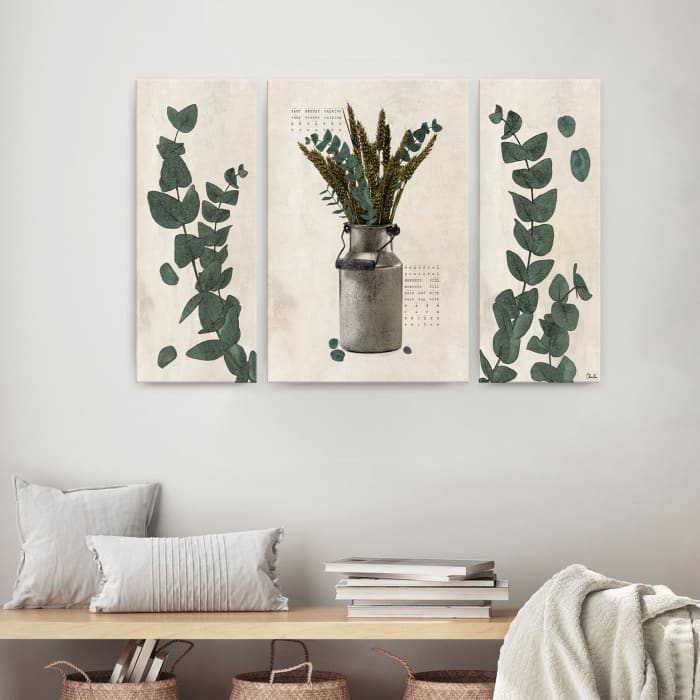 Poetic Flora Set VI Beige 3-Pc Canvas Wall Art Set