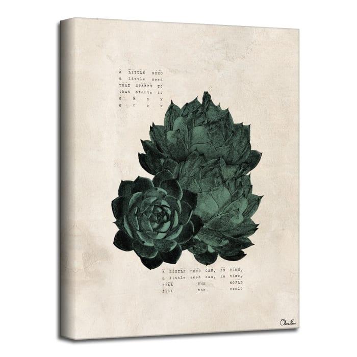 Poetic Flora V Beige Canvas Succulent Wall Art