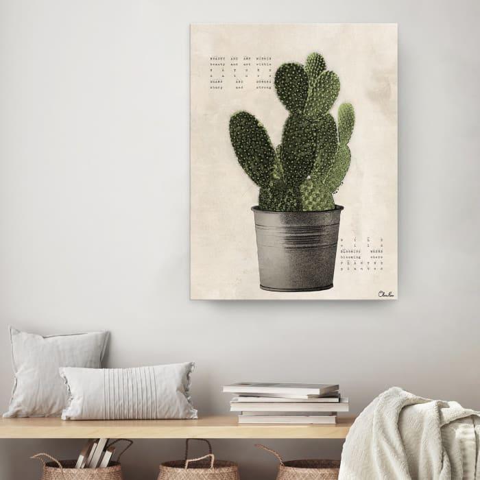 Poetic Flora XV Green Canvas Succulent Wall Art
