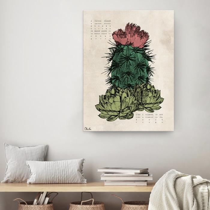 Poetic Flora XVIII Green Canvas Succulent Wall Art