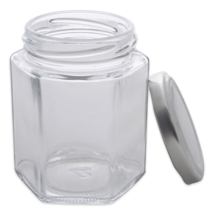 (Set of 12) Hexagon Jars With Silver Lids